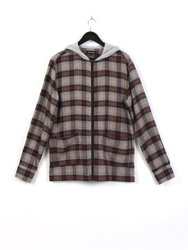 CHECK FLANNEL ZIP THROUGH HOODIE