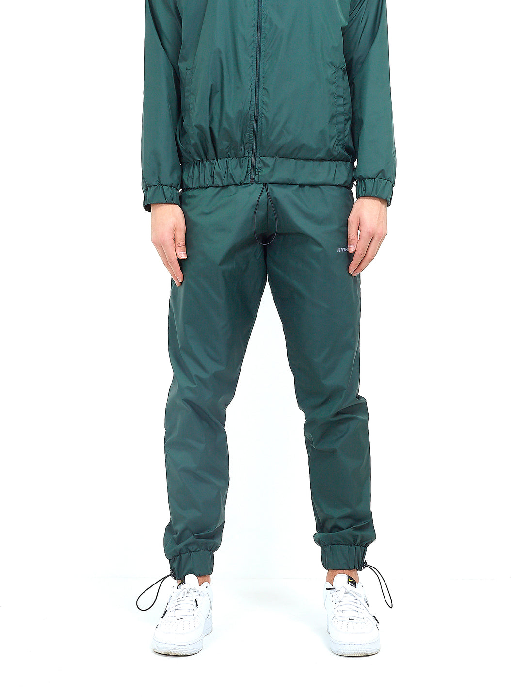 NYLON LOGO TRACK PANTS - GREEN