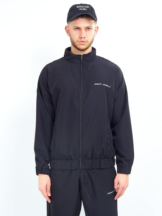 NYLON LOGO ZIP THROUGH - BLACK