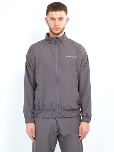 NYLON LOGO ZIP THROUGH - GREY