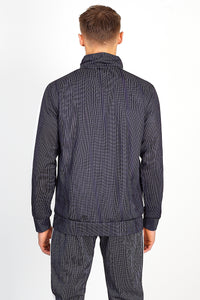 NIGHT ADDICT PINSTRIPE ZIP THROUGH TRACKSUIT TOP - BLACK