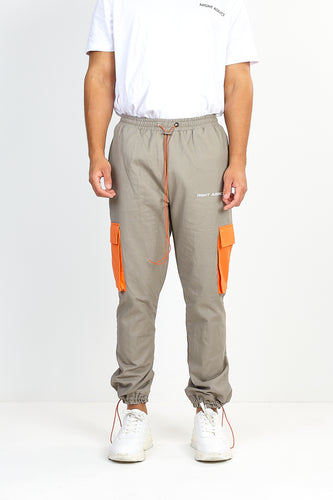UTILITY TWILL JOG PANTS – GREY WITH ORANGE