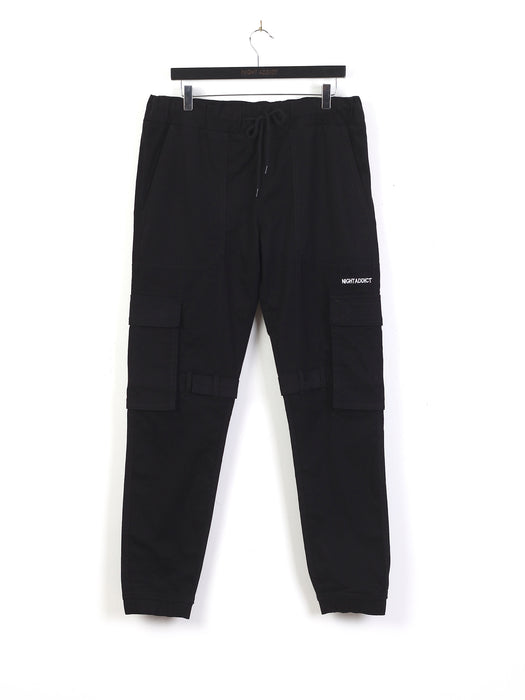INNER LEG STRAPPED CARGO PANTS - BLACK