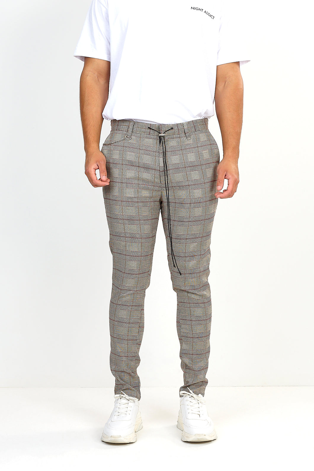 NIGHT ADDICT TAN CHECK DRAW-CORD TROUSERS FRONT