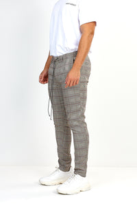 NIGHT ADDICT TAN CHECK DRAW-CORD TROUSERS SIDE