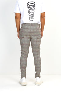 NIGHT ADDICT TAN CHECK DRAW-CORD TROUSERS BACK