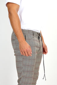 NIGHT ADDICT TAN CHECK DRAW-CORD TROUSERS DETAIL