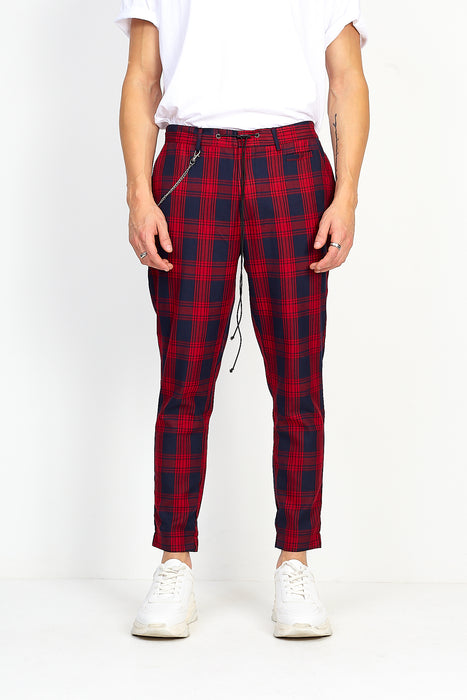DRAW-CORD TROUSERS – RED CHECK