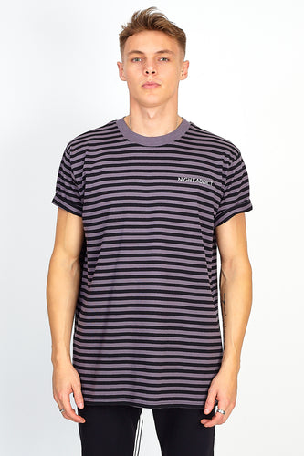 NIGHT ADDICT STRIPE TEE – BLACK AND GREY