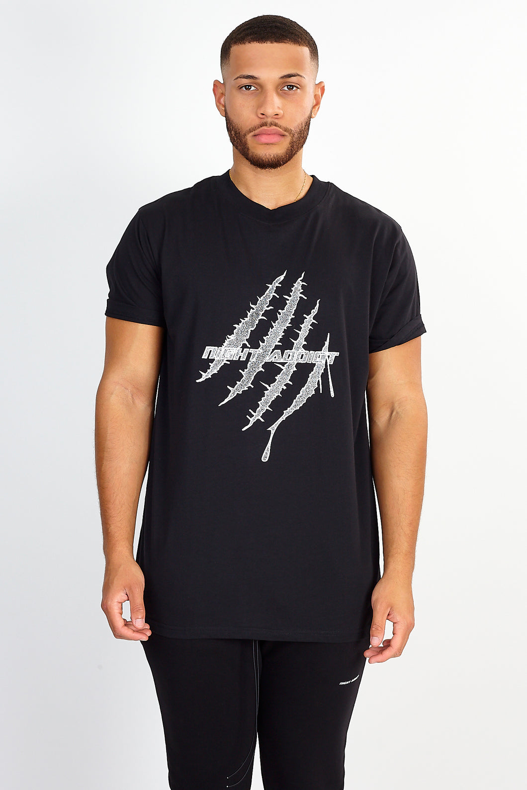 NIGHT ADDICT BLACK GLITTER PRINT TEE FRONT
