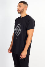 NIGHT ADDICT BLACK GLITTER PRINT TEE SIDE