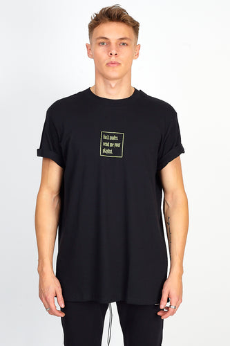 'FUCK NUDES, SEND ME YOUR PLAYLIST' TEE - BLACK