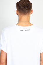 NIGHT ADDICT WHITE 'CONTROL' RAINBOW PRINT TEE BACK DETAIL
