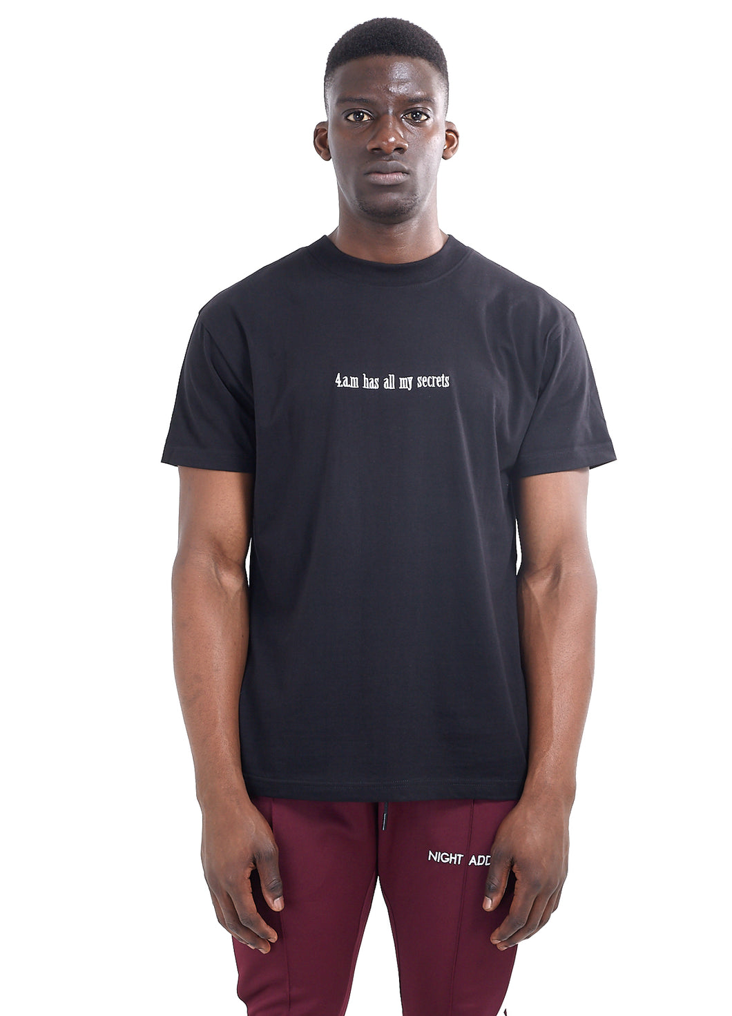 EMBROIDERED SLOGAN T-SHIRT - BLACK