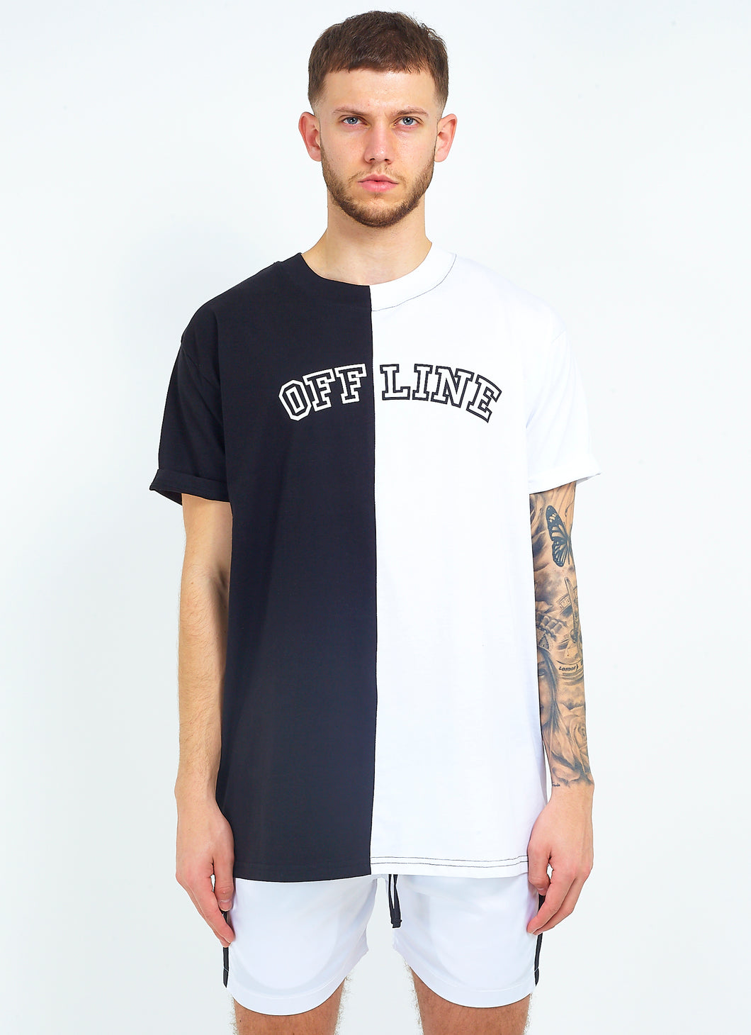 NIGHT ADDICT SPLICED BLACK AND WHITE 'OFFLINE' PRINT SPLIT TEE FRONT