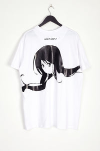 NIGHT ADDICT WHITE ANIME BACK PRINT T-SHIRT BACK