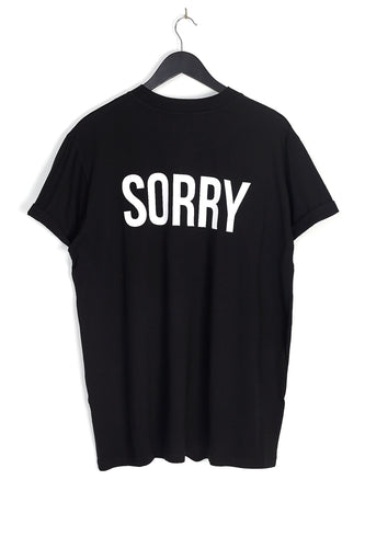 NIGHT ADDICT BLACK 'SORRY' BACK PRINT TEE BACK