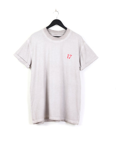 ACID WASH BACK PRINT TEE - WHITE