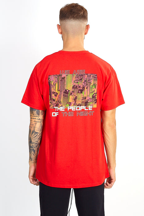 'PEOPLE OF THE NIGHT' BACK PRINT TEE - RED