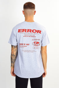 NIGHT ADDICT 'ERROR' BACK PRINT TEE - GREY