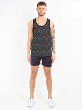 OVERSIZED ALL OVER PRINT VEST - BLACK