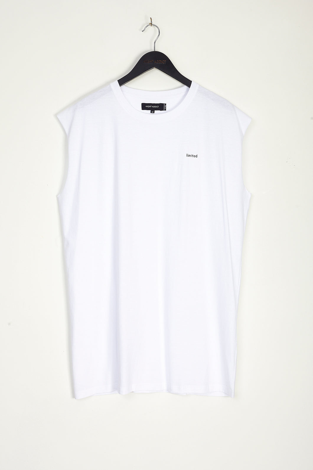 NIGHT ADDICT OVERSIZED WHITE 'LIMITED' VEST FRONT