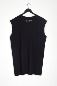 NIGHT ADDICT OVERSIZED BLACK 'GLOBAL' VEST BACK