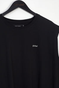 NIGHT ADDICT OVERSIZED BLACK 'GLOBAL' VEST DETAIL