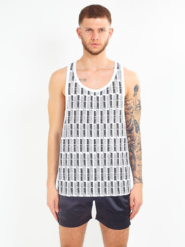 OVERSIZED ALL OVER PRINT VEST - WHITE