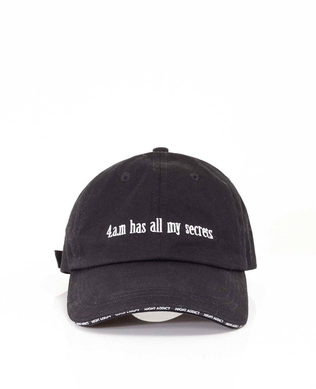 NIGHT ADDICT '4AM HAS ALL MY SECRETS' HAT FRONT