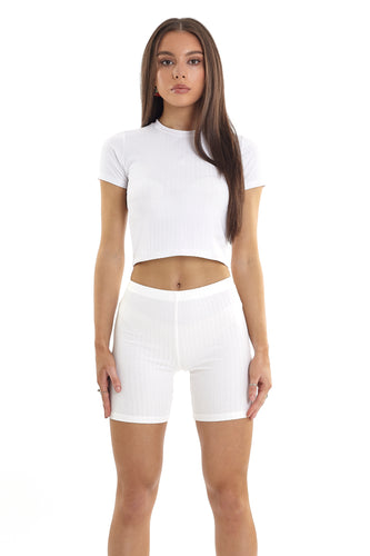 CROPPED RIBBED TEE - WHITE