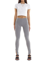 SPLIT RIBBED LEGGINGS - GREY