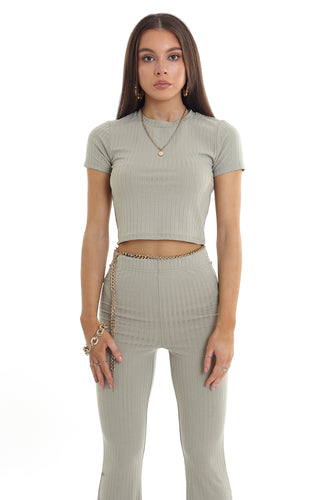 CROPPED RIBBED TEE - SAGE
