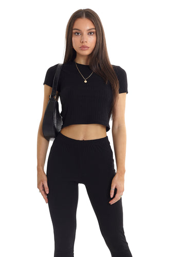 CROPPED RIBBED TEE - BLACK