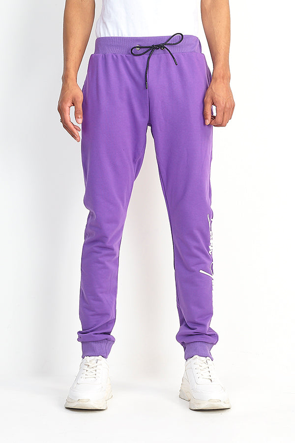NIGHT ADDICT PURPLE 'BORN GLOBAL' JOGGERS FRONT