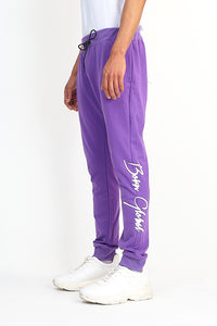 NIGHT ADDICT PURPLE 'BORN GLOBAL' JOGGERS SIDE