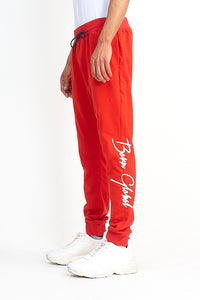 NIGHT ADDICT RED 'BORN GLOBAL' JOGGERS SIDE
