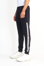 NIGHT ADDICT SIDE TAPE FLEECE JOGGERS - BLACK