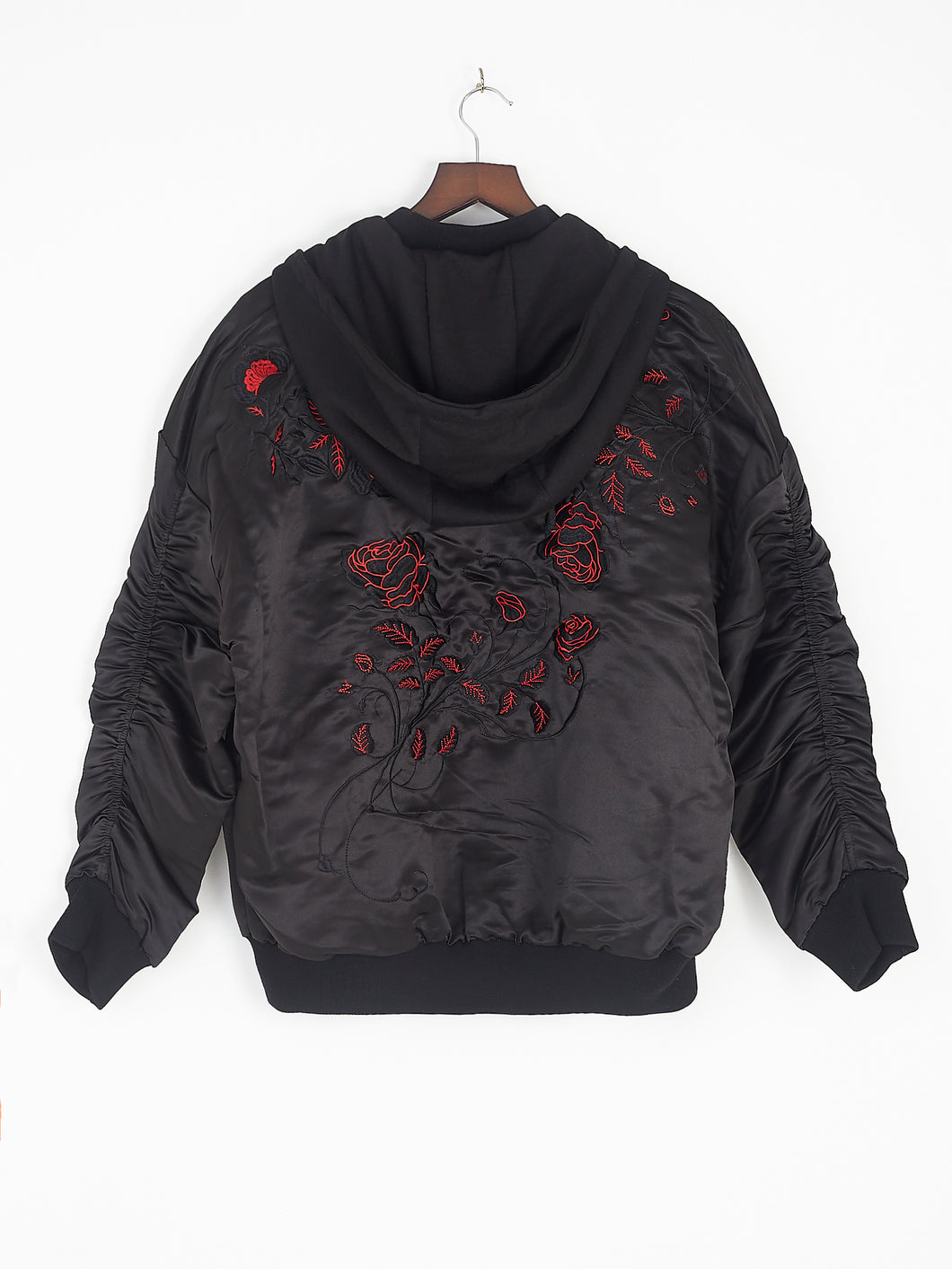 NIGHT ADDICT HOODED BOMBER JACKET WITH EMBROIDERY BACK