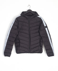 REFLECTIVE SLEEVE BUBBLE JACKET - BLACK