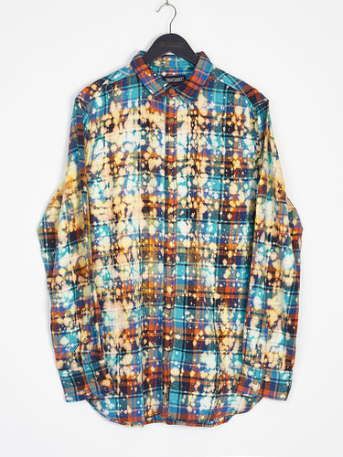 NIGHT ADDICT FLANNEL CHECK BLEACH WASH SHIRT FRONT