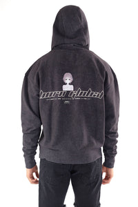 ANIME BLACK PRINT HOODIE - ACID WASH