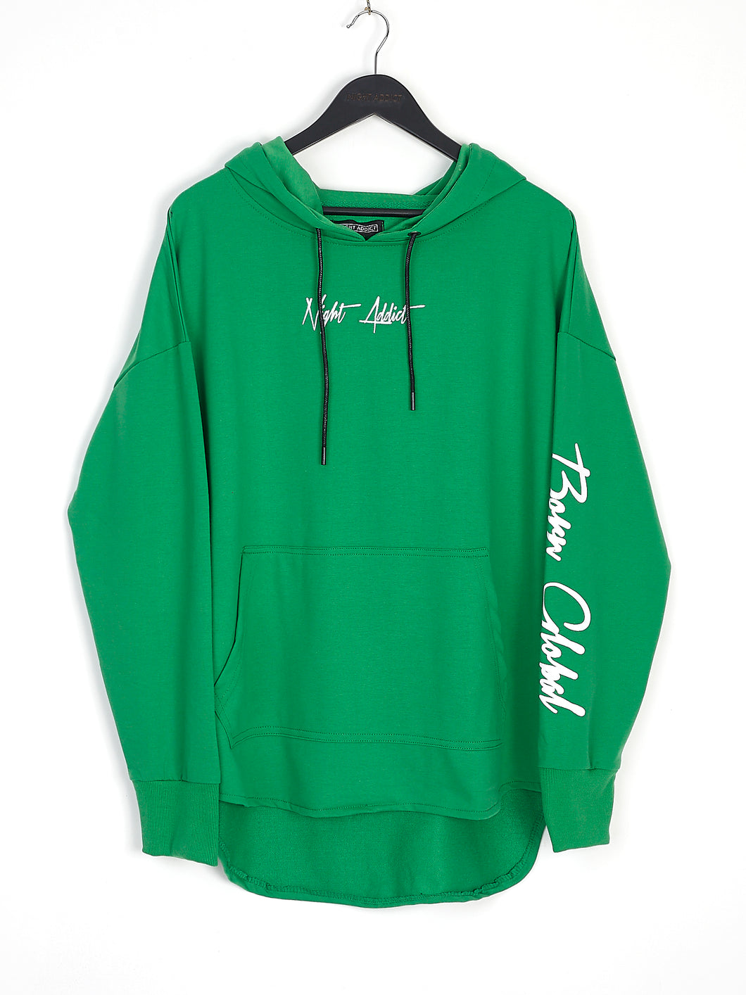 NIGHT ADDICT GREEN 'BORN GLOBAL' HOODIE FRONT