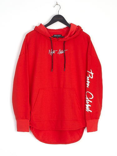 NIGHT ADDICT RED 'BORN GLOBAL' HOODIE FRONT