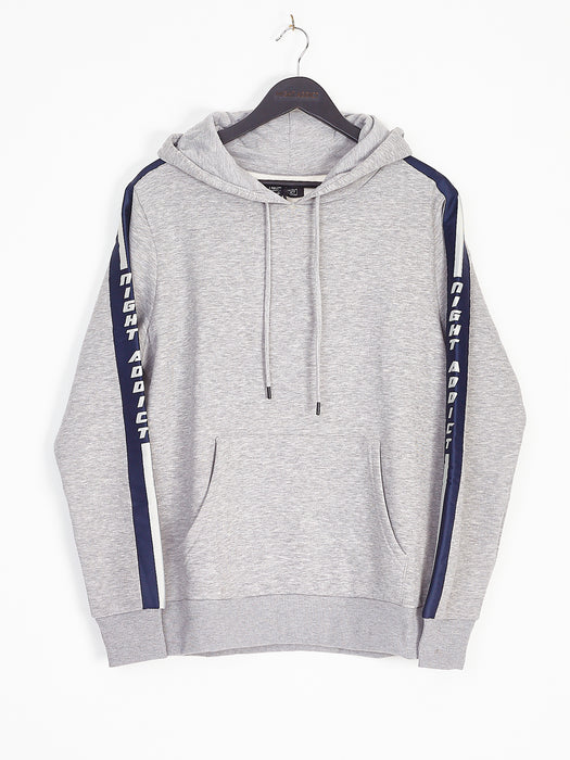 NIGHT ADDICT GREY MARL OVERHEARD HOODIE - NAVY SIDE TAPE