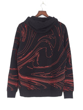 MARBLE PRINT LOGO HOODIE - BLACK AND RED