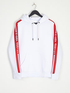 NIGHT ADDICT WHITE HOODIE WITH RED SIDE TAPE