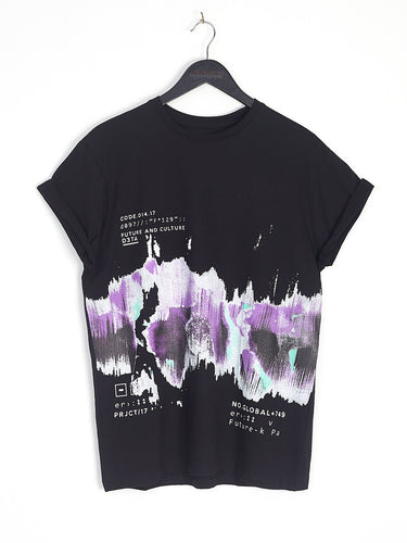 NIGHT ADDICT BLACK ABSTRACT PRINT TEE FRONT