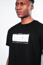 NIGHT ADDICT BLACK CATCH FLIGHTS NOT FEELINGS T-SHIRT DETAIL