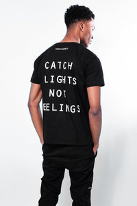 NIGHT ADDICT BLACK CATCH FLIGHTS NOT FEELINGS T-SHIRT BACK